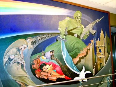 Denver international airport dia mystery of the iniquity for Denver airport mural conspiracy