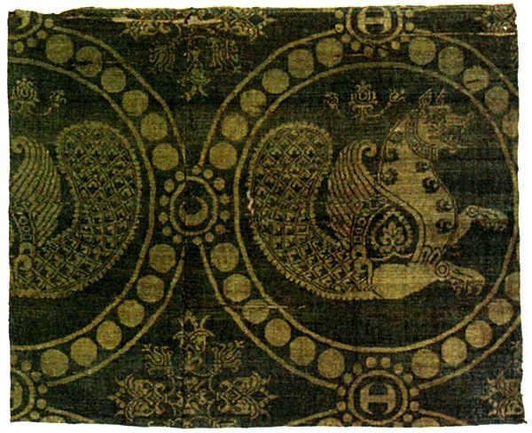 Senmurvs on a piece of Byzantine silk, Louvre, Paris