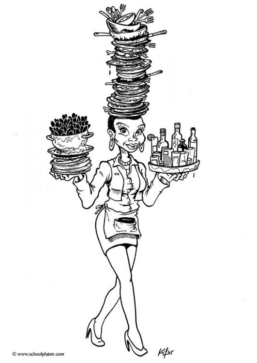 waitress coloring pages - photo#17