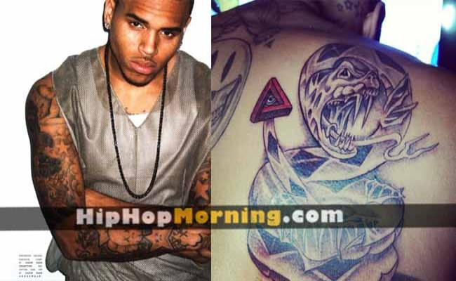 Chris Brown Snake Tail Illuminati Tattoo