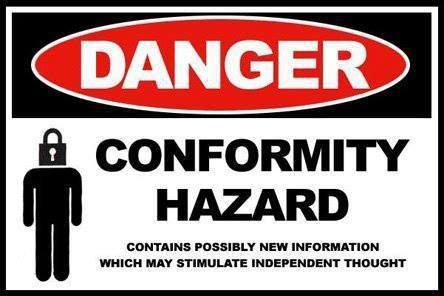 Danger conformity hazard contains possibly new information which may stimulate independent thought