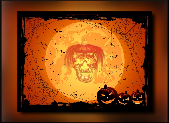 Horizontal Halloween night background with Moon spiders and Jack O' Lanterns illustration.