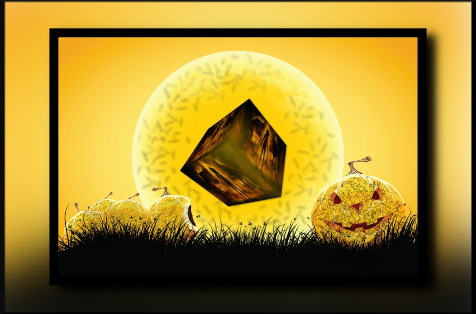 Halloween black and orange background with grass moon and pumpkin